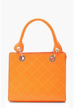 Womens Neon-orange Neon Orange Structured Mini Tote Bag