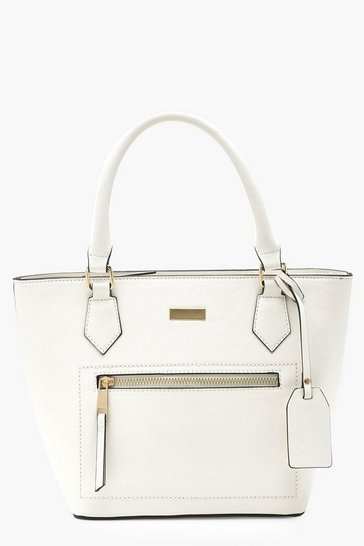 Womens White Structured Zip Front Tote Bag