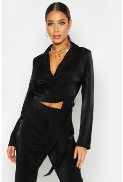 Womens Black Tailored Crop Tie Side Blazer