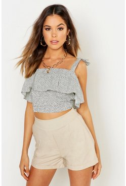 Womens Cream Ditsy Spot Shirred Frill Detail Woven Crop Top