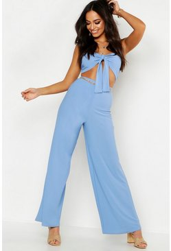 Womens Blue Tie Front Bralet & Wide Leg Pants Co-Ord