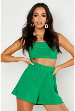 Womens Green Square Neck Bralet & Flippy Short Co-ord