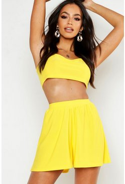 Womens Yellow Square Neck Bralet & Flippy Short Co-ord
