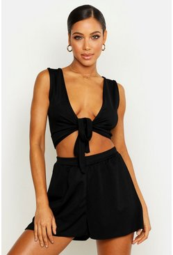 Womens Black Tie Front Bralet & Flippy Short Co-ord