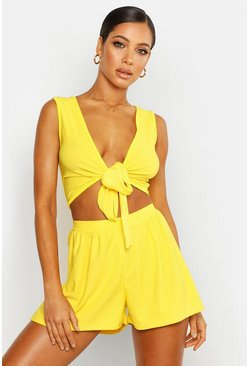 Womens Yellow Tie Front Bralet & Flippy Short Co-ord