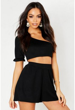 Womens Black Volume Sleeve Shoulder Crop & Flippy Short Co-ord
