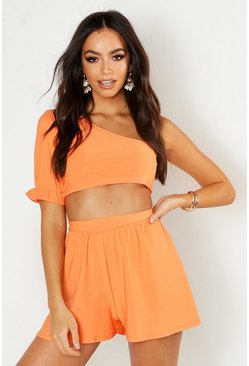 Womens Orange Volume Sleeve Shoulder Crop & Flippy Short Co-ord