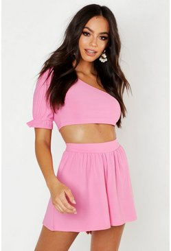 Womens Pink Volume Sleeve Shoulder Crop & Flippy Short Co-ord