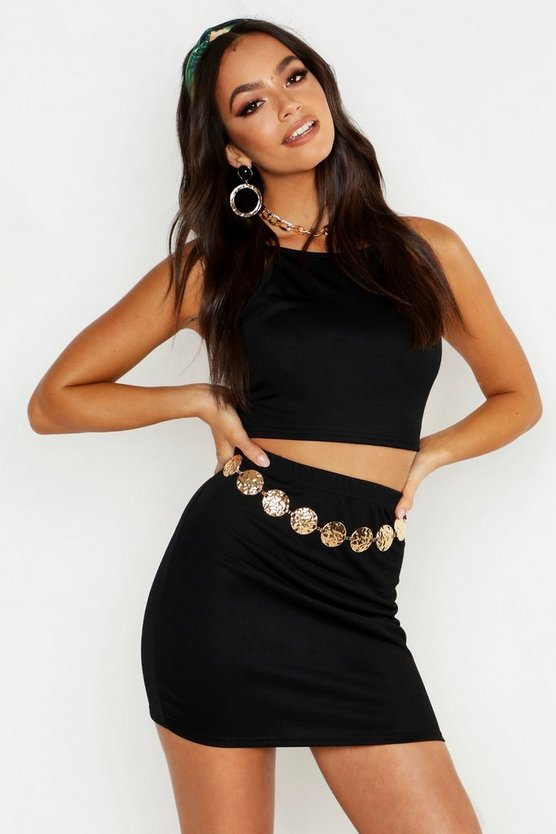 Womens Black Racer Strap Bralet & Mini Skirt Co-ord