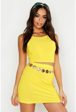 Womens Yellow Racer Strap Bralet & Mini Skirt Co-ord