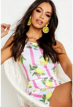 Womens Pink Fruit Print Racer Bralet & Mini Skirt Co-ord