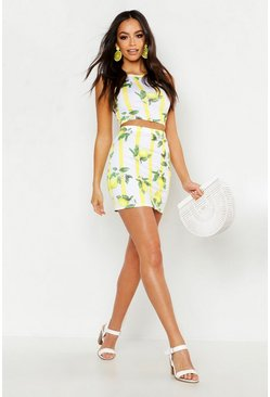 Womens Yellow Fruit Print Racer Bralet & Mini Skirt Co-ord