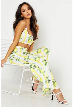 Womens Pink Fruit Stripe Print Bralet & Wide Leg Trouser Co-Ord