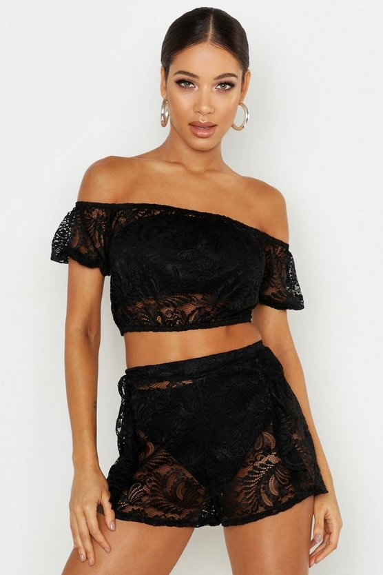 Womens Black Lace Shorts