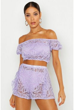 Womens Lilac Lace Shorts