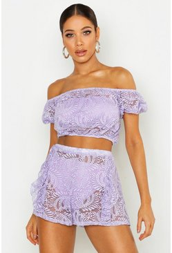Womens Lilac Lace Gypsy Bardot Top