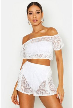 Womens White Lace Gypsy Bardot Top