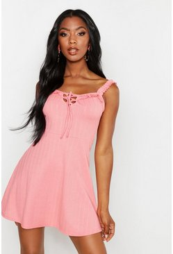 Womens Coral Plaited Rib Frill Skater Dress