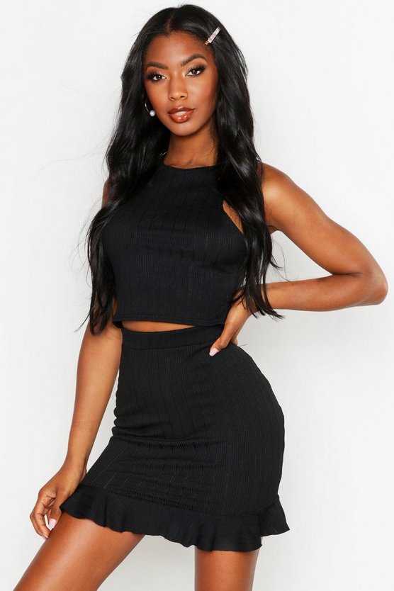 Womens Black Plaited Rib Racer Crop Top