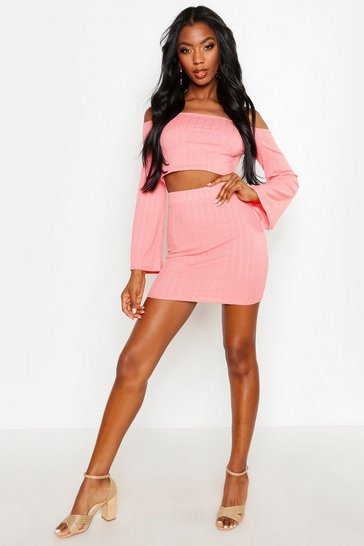 Coral Plaited Rib Off Shoulder Bodycon Skirt Co-ord