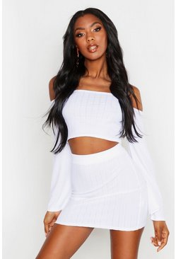 Womens White Plaited Rib Off Shoulder Bodycon Skirt Co-ord