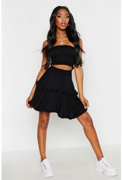 Womens Black Shirred Ruffle Skater Skirt