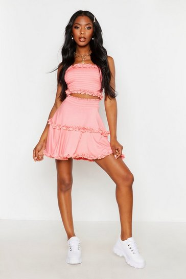 Womens Coral Shirred Ruffle Skater Skirt
