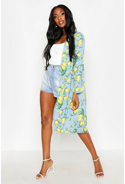 Womens Blue Lemon Print Pocket Duster