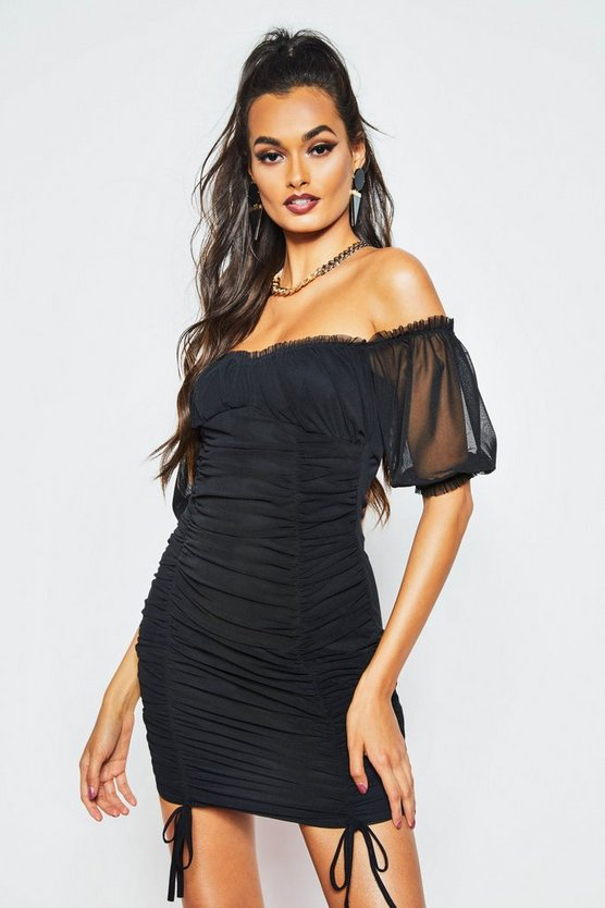 Womens Black Peasant Mesh Ruched Bodycon Mini Dress
