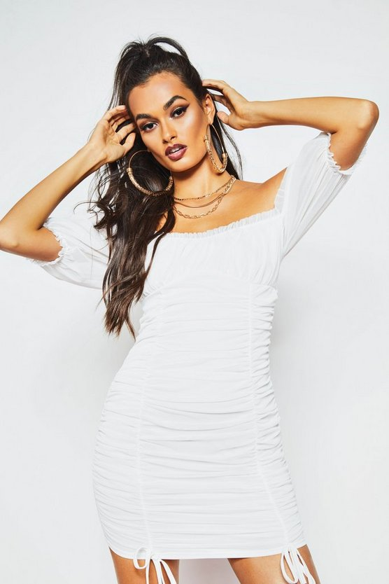 White Peasant Mesh Ruched Bodycon Mini Dress