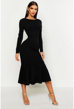 Womens Black Fishtail Long Sleeve Midaxi Dress