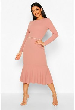 Mauve Fishtail Long Sleeve Midaxi Dress