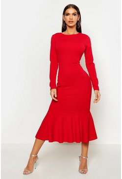 Womens Red Fishtail Long Sleeve Midaxi Dress