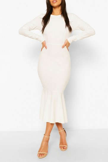 White Fishtail Long Sleeve Midaxi Dress