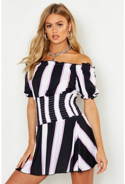Womens Lilac Striped Dress With Shirring