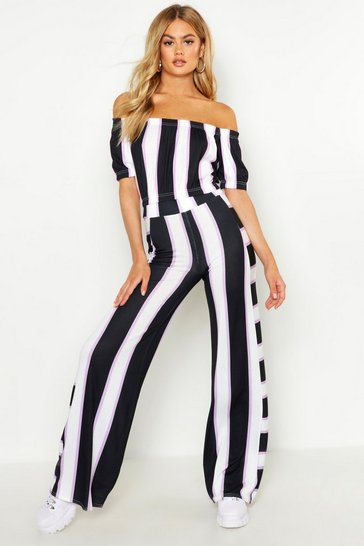Womens Lilac Striped Wide Legged Trouser