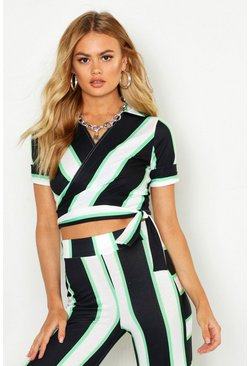 Womens Green Striped Wrap Top With Tie
