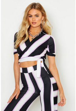 Lilac Striped Wrap Top With Tie