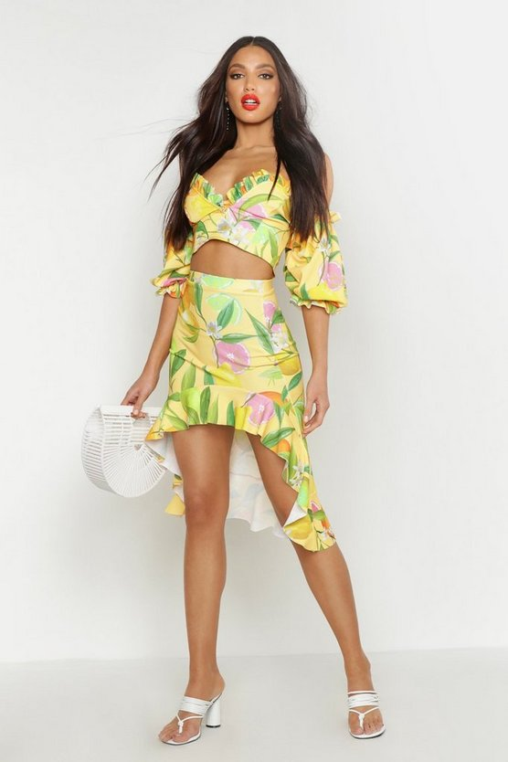 Womens Yellow Fruit Print Ruffle Detail Midi Skirt