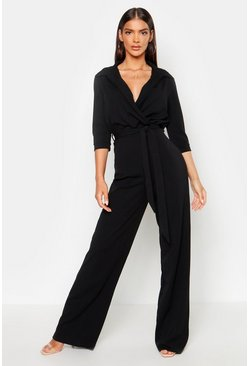 Black Belted Wrap Front Wide Leg Jumpsuit