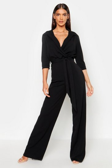 Womens Black Belted Wrap Front Wide Leg Jumpsuit