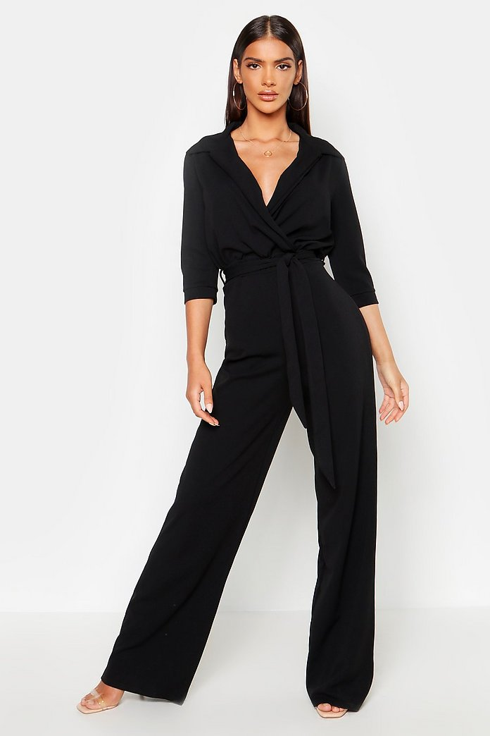 Belted Wrap Front Wide Leg Jumpsuit | boohoo