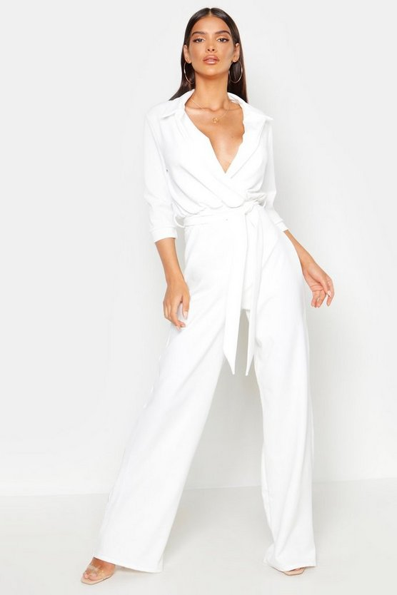 Belted Wrap Front Wide Leg Jumpsuit by Boohoo