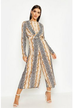 Womens Brown Snake Print Knot Front Jumpsuit