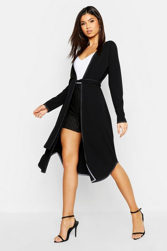 Black Contrast Stitch Belted Duster