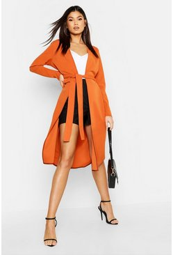Womens Rust Contrast Stitch Belted Duster