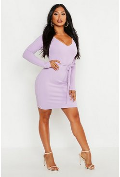 Womens Lilac V Neck Shift Dress