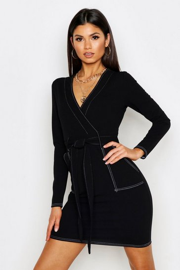 Womens Black Contrast Stitch Belted Wrap Dress