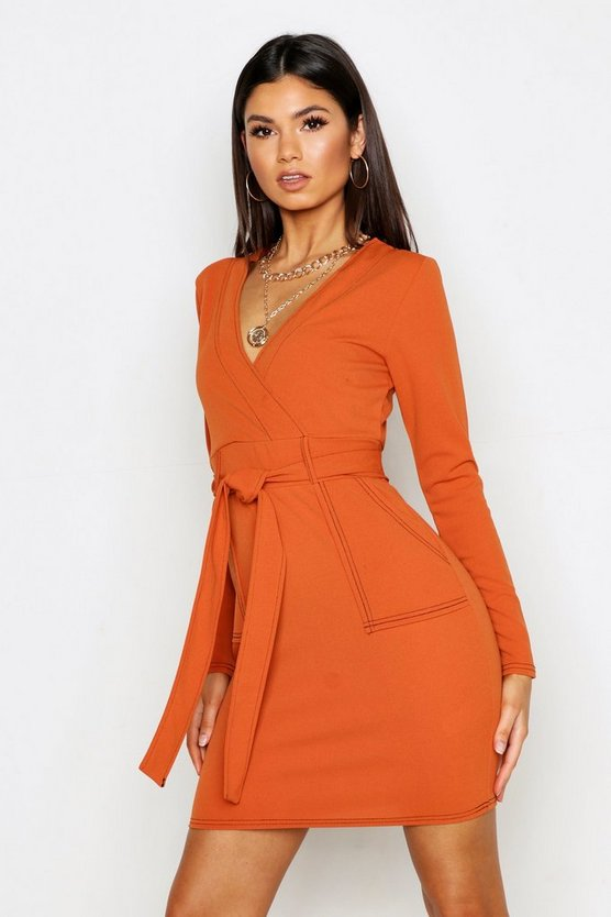 Womens Rust Contrast Stitch Belted Wrap Dress