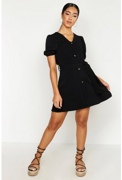 Womens Black Volume Sleeve Button Through Belted Dress